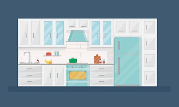 Diseño del interior de la cocina moderna en estilo plano.