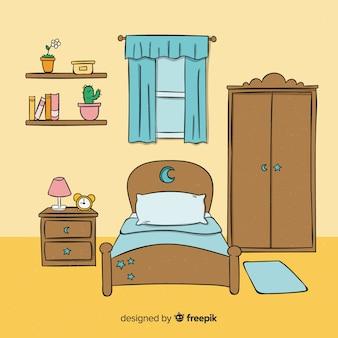 Diseño de interior de dormitorio adorable dibujado a mano