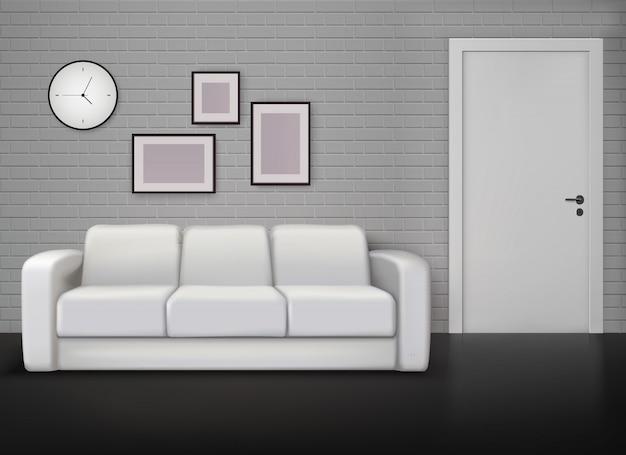 Diseño interior del hogar monocromático con pared gris, entrenador blanco, piso negro, ilustración realista contemporánea y vintage