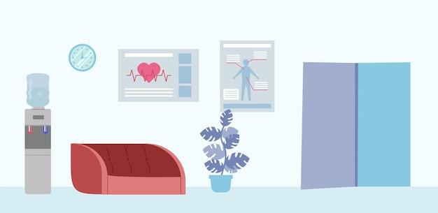 Diseño interior hospitalario simple en colores claros.