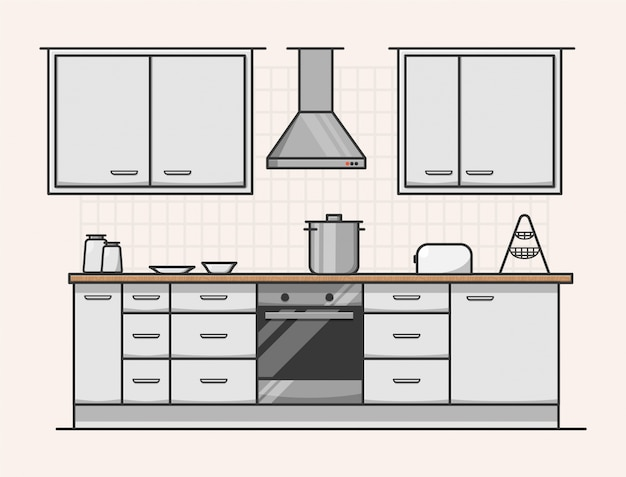 Diseño interior moderno de cocina