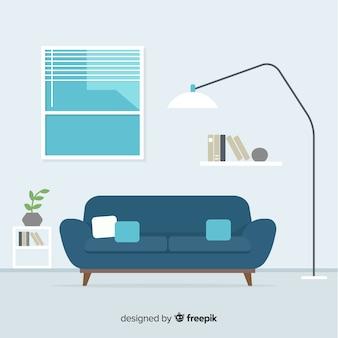 Diseño interior moderno de salón con diseño plano