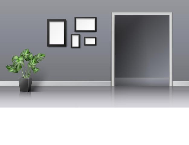 Diseño interior realista 3d de sala de estar con entrada.