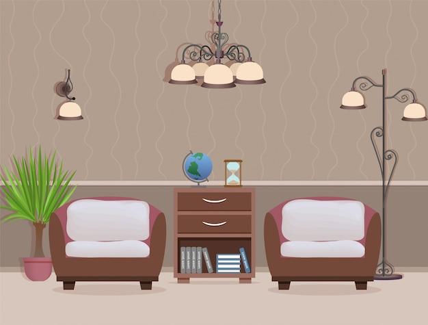 Diseño interior de sala de estar con dos sillones, planta de interior y lámparas. habitación doméstica con muebles.