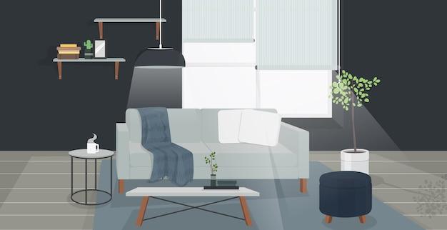 Diseño interior de sala de estar escandinavo moderno