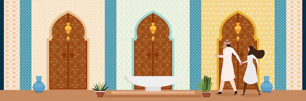 El diseño interior de la sala de estar de estilo oriental árabe o indio turco.