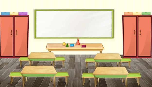 Diseño de interiores de aulas con mobiliario y decoración.