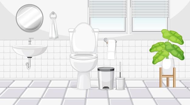 Diseño de interiores de baño con muebles.