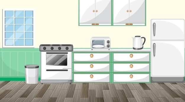 Diseño de interiores de cocina con muebles.
