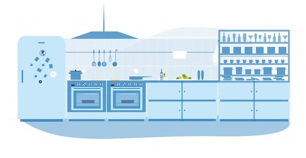 Diseño de interiores de cocina profesional en restaurante