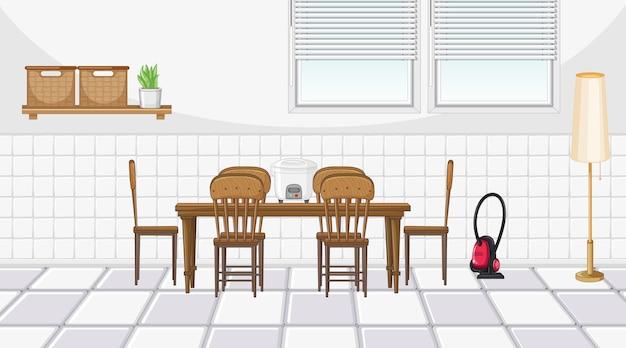 Diseño de interiores de comedor con muebles.