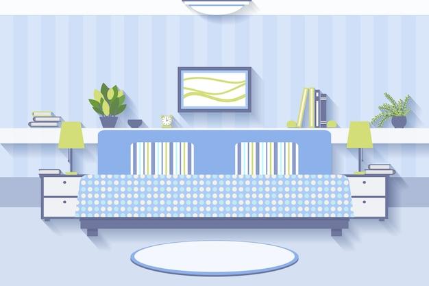 Diseño de interiores de dormitorio. apartamento e interior confortable, de lujo y con lámpara.