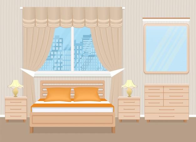 Diseño de interiores de dormitorio con cama, mesitas de noche, cómoda y espejo.