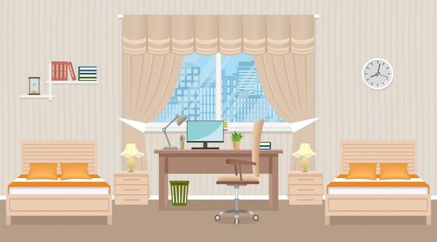 Diseño de interiores de dormitorio con dos camas, mesa, computadora de escritorio y ventana. habitación doméstica de color beige claro.