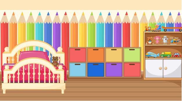 Diseño de interiores de dormitorio infantil con muebles.