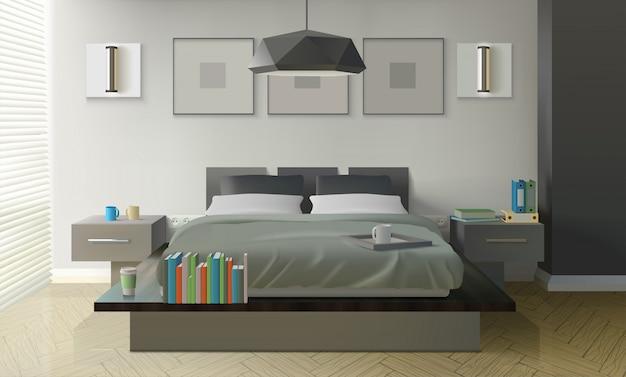 Diseño de interiores de dormitorio moderno