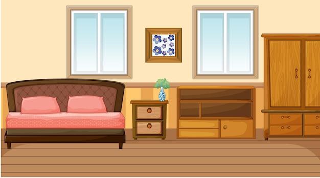 Diseño de interiores de dormitorio con muebles.