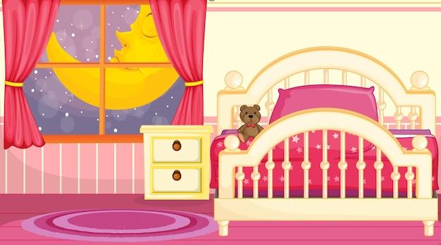 Diseño de interiores de dormitorio para niños con muebles en tema rosa