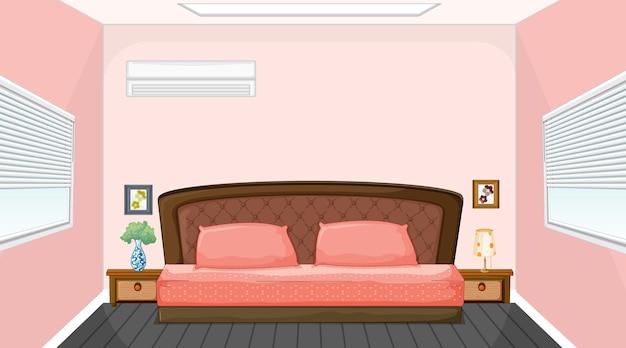 Diseño de interiores de dormitorio rosa con muebles.