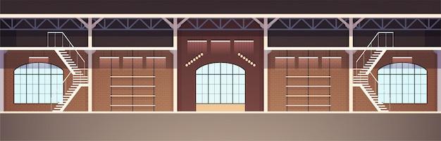 Diseño de interiores en estilo loft. ilustración de apartamento estudio vacío