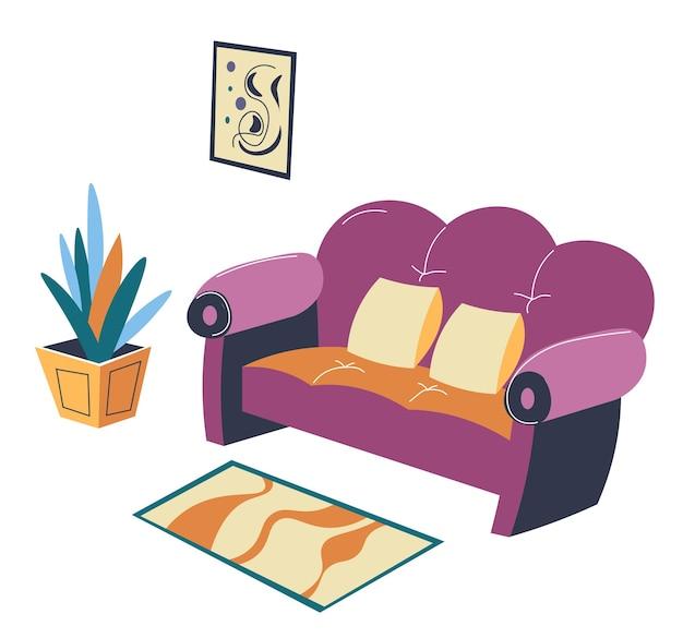 Diseño de interiores de hogar, sala de estar o salón con sofá, alfombra y flor decorativa moderna. loft de moda o espacio urbano, estilo contemporáneo de apartamento o vivienda, vector en estilo plano