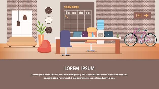 Diseño de interiores de la oficina moderna creativa de coworking