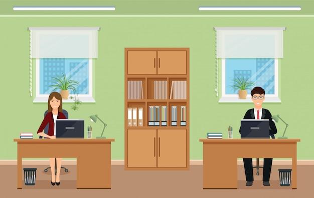 Diseño de interiores de oficina con personal y muebles masculinos y femeninos.