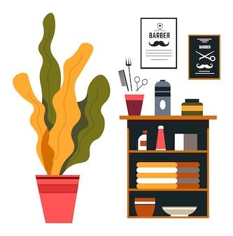 Diseño de interiores de peluquería, muebles y decoración.