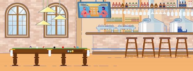 Diseño de interiores de pub deportivo inglés tradicional