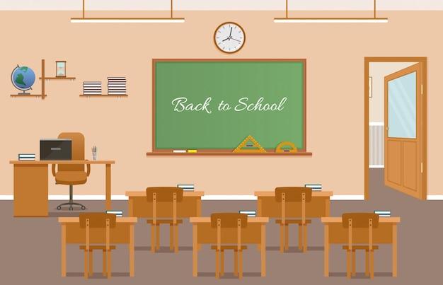 Diseño de interiores de sala de clase escolar con texto en pizarra