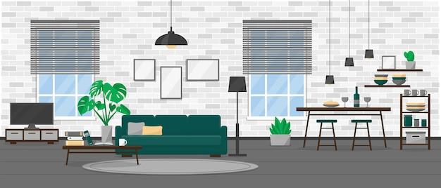 Diseño de interiores de sala de estar en estilo loft moderno
