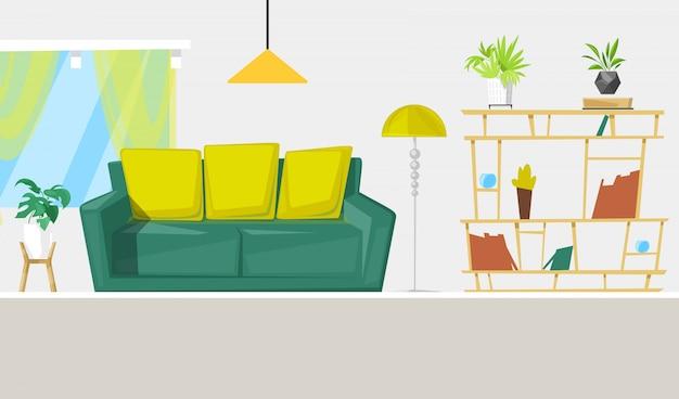 Diseño de interiores de sala de estar con muebles ilustración de dibujos animados.