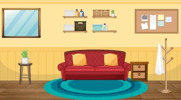 Diseño de interiores de sala de estar con muebles.
