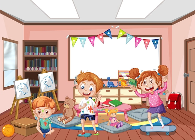 Diseño de interiores de sala de jardín de infantes con niños.