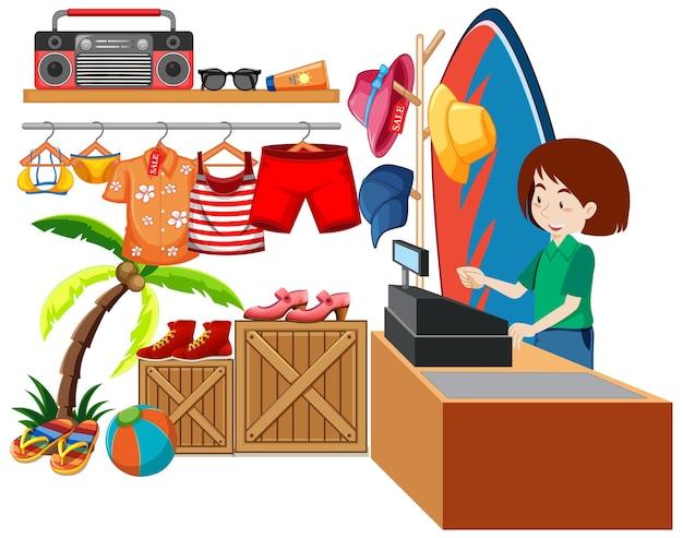 Diseño de interiores de tienda de telas