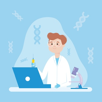 Diseño de investigación de vacunas con científico de dibujos animados