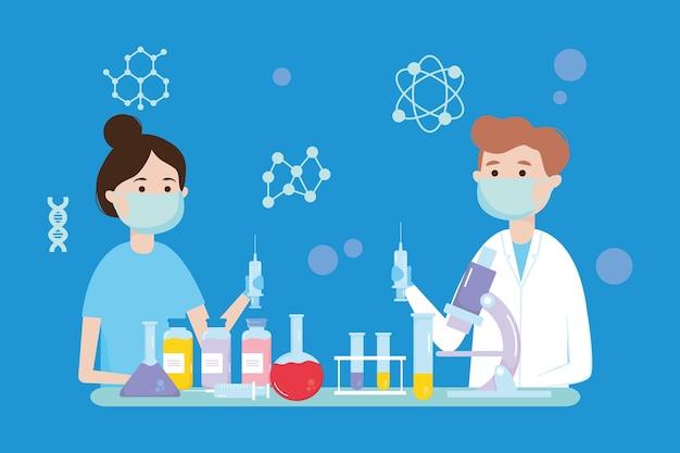 Diseño de investigación de vacunas con científicos de dibujos animados.