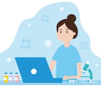 Diseño de investigación de vacunas con mujer y microscopio.