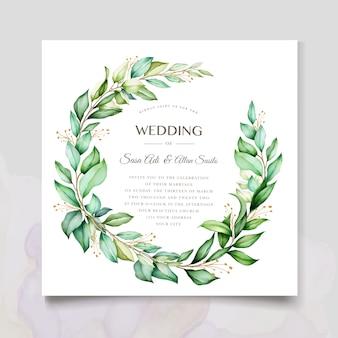 Diseño de invitación de acuarela con corona floral