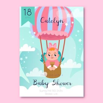 Diseño de invitación de baby shower con bebé