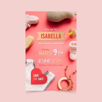 Diseño de invitación de baby shower con foto