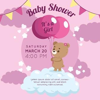 Diseño de invitación para baby shower de niña
