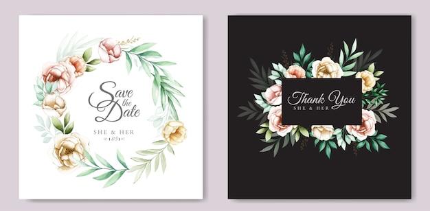 Diseño de invitación de boda con acuarela floral y hojas