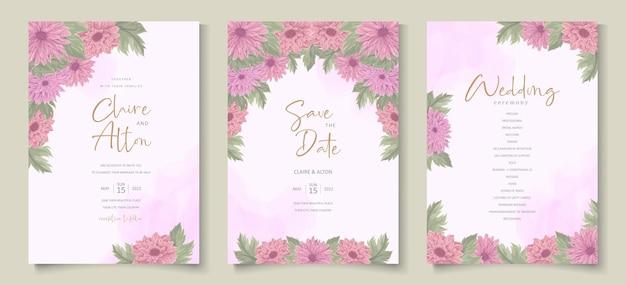 Diseño de invitación de boda con adornos de flores de crisantemo colorido