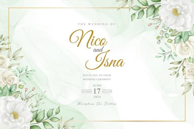 Diseño de invitación de boda elegante suave con acuarela floral y hojas