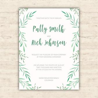 Diseño de invitación de boda con elementos de acuarela