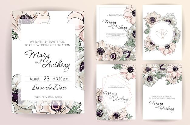 Diseño de invitación de boda con flores de anémona rosa suavemente en polvo