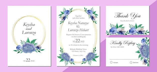 Diseño de invitación de boda con fondo de acuarela de arreglo floral púrpura