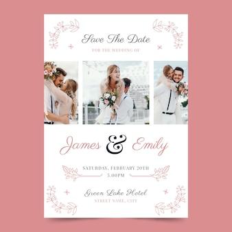 Diseño de invitación de boda con foto