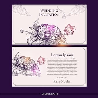 Diseño de invitación de boda handdrawn